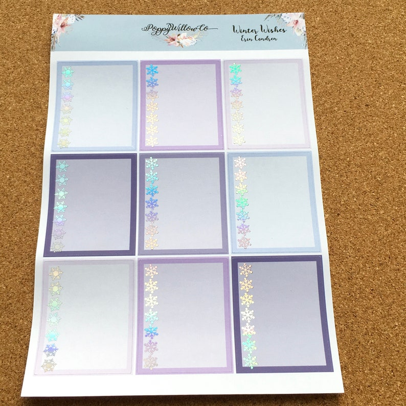 Winter Wishes with Premium Silver Holographic  Foil ERIN CONDREN VERTICAL Weekly Decorative Sticker Set