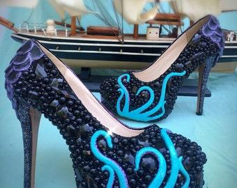 Octopus crystal mermaid heels/ crystal heels/ custom heels