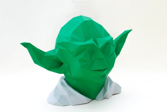 Paper Yoda, Polygonal Yoda, Star wars figure, 3d model Yoda, Low poly 3d  pazzle, Geometric templade colorful diy Joda, Head statue figure