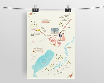 Wedding Map Invitation Custom Watercolor Hand Drawn Lettered Couple Portrait Destination Event Guest Itinerary Direction Design Stationery