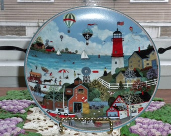 Vintage Four Bradford Exchange Sea Side Memories Hard fired porcelain So bright and detailed.
