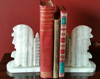Vintage Pair of Carved Mexican Alabaster Marble Stone Bookends