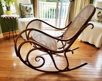 1970u0027s Vintage Original Thonet Bentwood Rocking Chair In Cognac   Local  Pickup Only