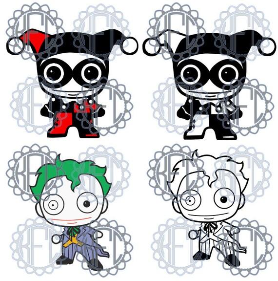 Cute Chibi Harley Quinn And Joker Set Svg Png Pdf Studio3 Etsy