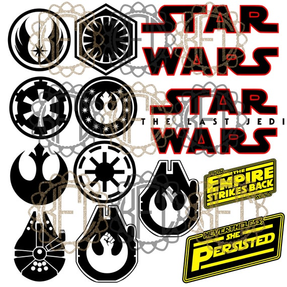 Star Wars Symbols Rise Of Skywalker Rebel Millenium Falcon Pdf Etsy