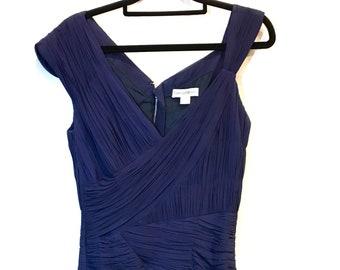 Vintage  Designer Dress  - 1990s Vintage - Navy Pleated Silk Dress - Bust 84cm