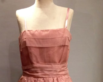 Vintage 1960's  Party Dress, Dusty Pink Organdie  Size 6-8