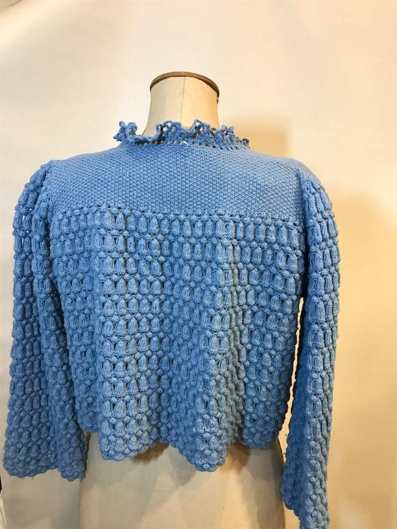 Vintage 1930/'s Hand Knit Blue CardiganJacket