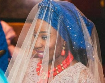 Transparent Bridal Wedding Stoned Veil in Gold Silver Royal Blue White African