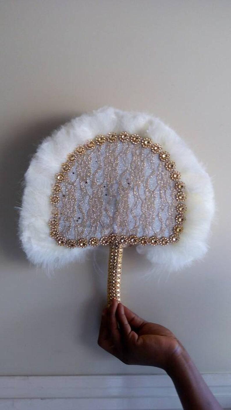 Small and Cute Bridal Train Wedding Guest Wand Feather Traditional African Wedding Hand Fan Nigerian Wedding Hand fan. 12 by 10 inches