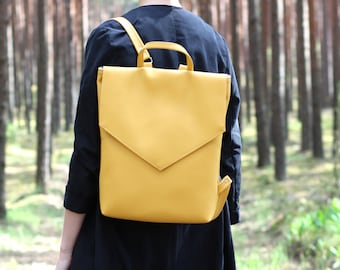 2498c82e4 Minimal backpack - Yellow backpack - Everyday backpack - Faux leather  backpack