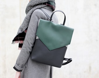 Minimal backpack - Black and green backpack - Vegan leather backpack - Faux leather backpack