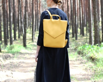 Minimal backpack - Yellow backpack - Vegan leather backpack - Faux leather backpack