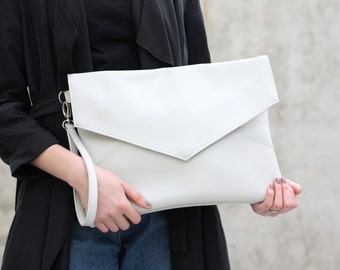 Vegan leather clutch - Vegan leather oversized clutch - Light grey clutch - Minimal clutch