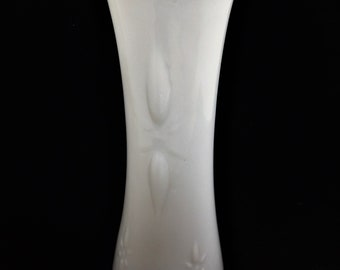 Vintage E O Brody Co. Art Nouveau Milk Glass Vase with Starburst Design and Scalloped Lip
