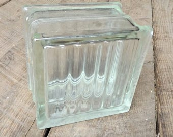 "Vintage Glass Architectural Block, 5 5/8"" Sq"