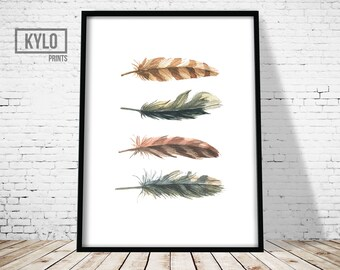 Feather Art Print, Watercolour Feather Print, Wall Art Print, Minimalist feather print, Feather print, Watercolour print, Home Print, Modern