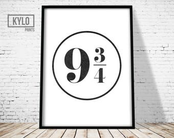 Harry Potter Print, Platform 9 3/4 logo, Digital Print, Wall Art, Harry Potter Art, Harry Potter Gift, Printable Poster, Harry Potter Fan