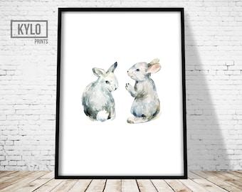 Rabbit Print, Bunny Art, Animal Print, Watercolour Art, Nursery Wall Art, Rabbits Art, Bunnies Print, Minimalist Print, Nursery Print, Kids