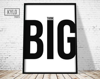 Think Big Print, Office Decor, Office Print, Digital Print, Typography Print, Home Decor, Office Printable, Motivational Poster, Wall Art