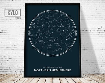 Constellations Print, Blue White, Printable Art, Astronomy Poster, Stars, Constellations Poster, Night Sky Art Poster, Astronomy Art Print