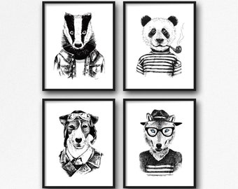 Hipster Animal Print Set 8x10, Funny Wall Art, Printable Art, Instant Download, Gift For Her, Modern Abstract Art, Nursery Decor, Home Decor