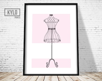 Dress Mannequin Print, French Dress Form, Fashion Print, Fashion Decor, Wall Art, Fashion Printable, Fashion Poster, Instant Download, Gift