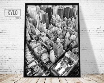 New York Skyline Print, New York Photography, New York Print, Digital Print, Wall Art, Printable Art, Architecture Print, Manhattan Print