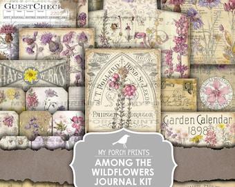 Junk Journal Kit, Among the Wildflowers, Botanical, Flower, Vintage, My Porch Prints, Purple, Printable, Paper, Ephemera, Digital, Download