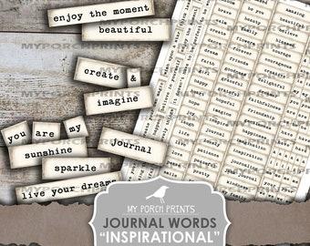 Journal Words, Inspirational, Junk Journal, Phrases, Mixed Media Words, My Porch Prints, Collage Sheet, Scrapbooking, Printable, Ephemera