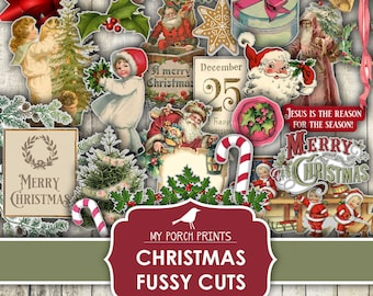 Christmas, Fussy Cut, Junk Journal, December Daily, Vintage, Santa, Card, Kit, Printable Sticker, Cricut, My Porch Prints, Digital Download