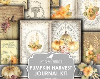 Junk Journal Kit, Pumpkin, Harvest, Fall, Autumn, Sunflower, My Porch Prints, Junk Journal, Printable, Paper, Ephemera, Digital, Download