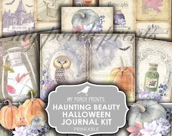 Halloween Junk Journal Kit, Haunting Beauty, Pumpkin, Owl, Potions, Ephemera, Autumn, Fall, Printable, My Porch Prints, Digital Download