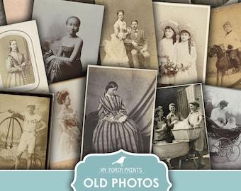 Old Photos, Portraits, Junk Journal, Photographs, Black White, Sepia, Halloween, Scary, Vintage, My Porch Prints, Printable Digital Download