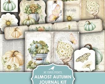 Junk Journal, Almost Autumn, Summer, Fall, Pumpkins, Daisy, Daisies, Kit, August, Ephemera, My Porch Prints, Digital Download, Printable