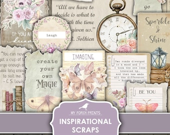 Inspirational Scraps, Junk Journal, Journal Words, Stickers, Flowers, Paper, Quotes, Fussy Cut, My Porch Prints, Printable, Digital Download