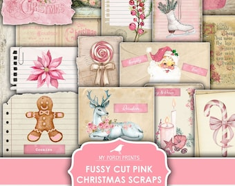 Fussy Cut, Pink, Christmas Scraps, Junk Journal, Tag, December Daily, Sticker, To From, Card, Printable, My Porch Prints, Digital Download
