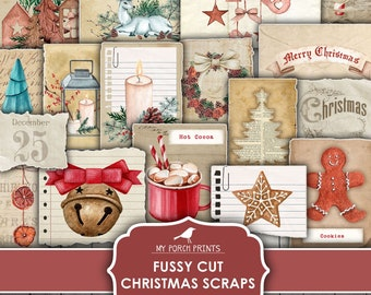 Fussy Cut, Christmas Scraps, Junk Journal, Tag, December Daily, Sticker, Label, To From, Card, Printable, My Porch Prints, Digital Download