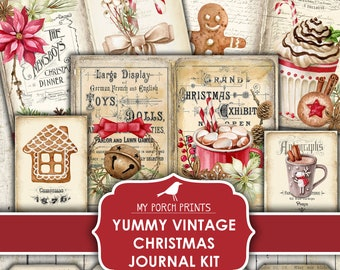 Christmas, Junk Journal, Kit, Yummy, Vintage, Printable, My Porch Prints, Digital, December Daily, Gift, Red, Tags, Embellishment, Download