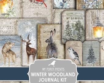 Junk Journal, Winter, Woodland, Regular Size, Forest, Animals, Christmas, December Daily, Kit, My Porch Prints, Digital, Download, Printable
