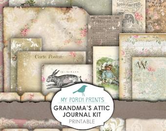 Grandma's Attic Junk Journal Kit Printable Paper Shabby Chic Digital Kit Ephemera Rose Junk Journal Printable MyPorchPrints Store Download