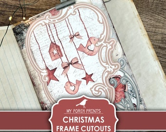 Christmas, Junk Journal, Frame, Cutouts, December Daily, Traditional, Card, Traditions, Design, Printable, My Porch Prints, Digital Download