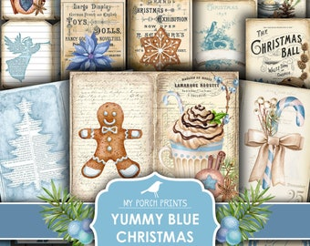 Yummy, Blue Christmas, Journal Kit, Junk Journal, December Daily, Teal, Book, Card, Gingerbread, Recipe, My Porch Prints, Digital Download