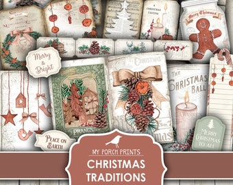 Christmas, Traditions, Junk Journal, Kit, Vintage, Printable, My Porch Prints, Digital, December Daily, Card, Gift, Red and Green, Download