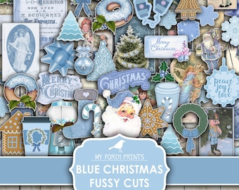 Blue Christmas, Fussy Cut, Junk Journal, December Daily, Teal, Vintage, Card, Printable Sticker, Cricut, My Porch Prints, Digital Download