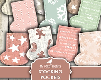 Christmas Stocking Pockets, Junk Journal, Tags, Advent Calendar, December Daily, Pink, Card, Printable, My Porch Prints, Digital Download