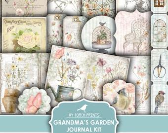 Junk Journal Kit, Grandma's Garden, Spring, Flowers, Shabby, Pastel, Wildflowers, Ephemera, My Porch Prints, Digital Download, Printable
