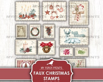 Christmas Stamps, Faux, Junk Journal, Letter to Santa, December Daily, Card, Printable, Sticker, Craft, My Porch Prints, Digital Download