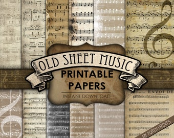 Distressed Paper Background Music Wrapping Paper Old Papers Painted Paper Vintage Paper Old Music Sheets Printable Scrapbook Paper