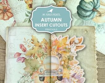 Junk Journal, Autumn Insert Cutouts, Fall, Junk Journal Kit, Pumpkin, Sunflowers, Pocket Flap, My Porch Prints, Digital Download, Printable